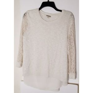 Lucky Brand Cream Top Crochet Arms Size Large